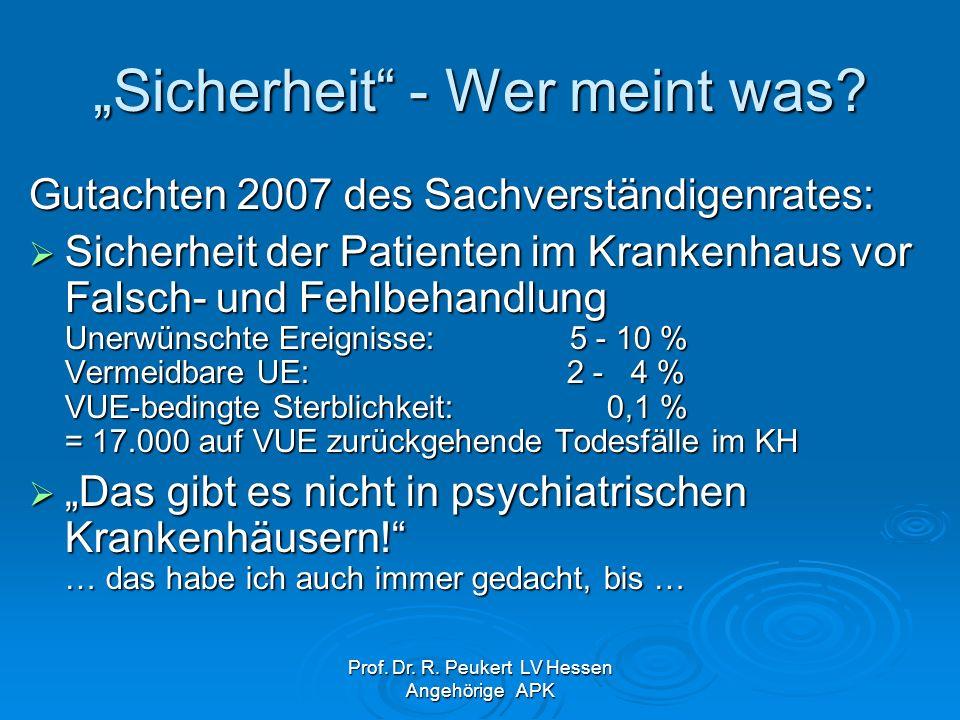 Prof. Dr. R. Peukert LV Hessen Angehörige APK Sicherheit - Wer meint was? Gutachten 2007 des Sachverständigenrates: Sicherheit der Patienten im Kranke