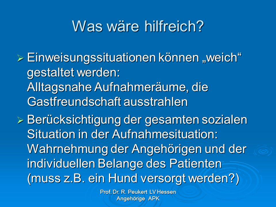 Prof. Dr. R. Peukert LV Hessen Angehörige APK Was wäre hilfreich? Einweisungssituationen können weich gestaltet werden: Alltagsnahe Aufnahmeräume, die