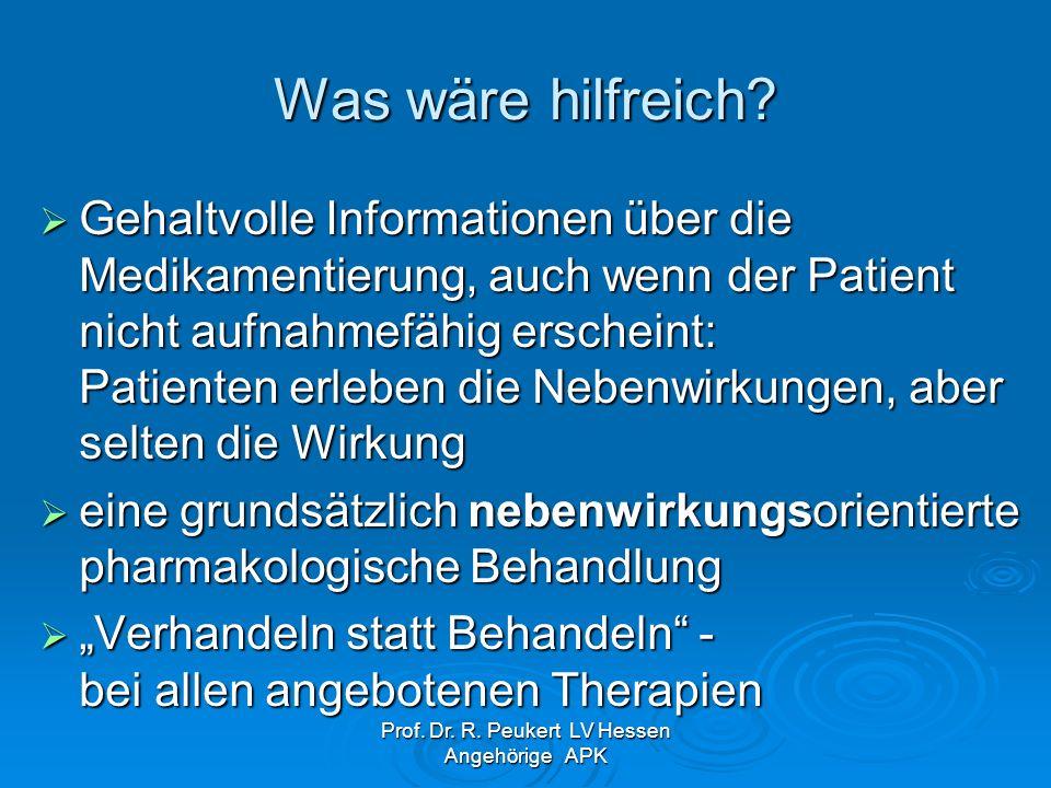 Prof. Dr. R. Peukert LV Hessen Angehörige APK Was wäre hilfreich? Gehaltvolle Informationen über die Medikamentierung, auch wenn der Patient nicht auf