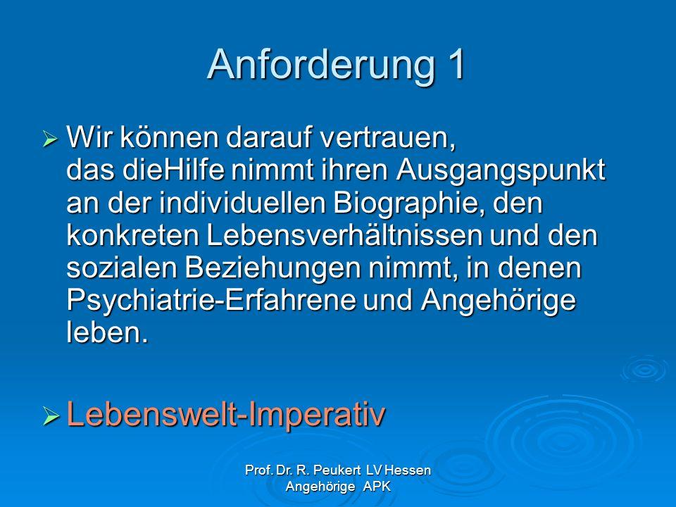 Prof. Dr. R. Peukert LV Hessen Angehörige APK Anforderung 1 Wir können darauf vertrauen, das dieHilfe nimmt ihren Ausgangspunkt an der individuellen B