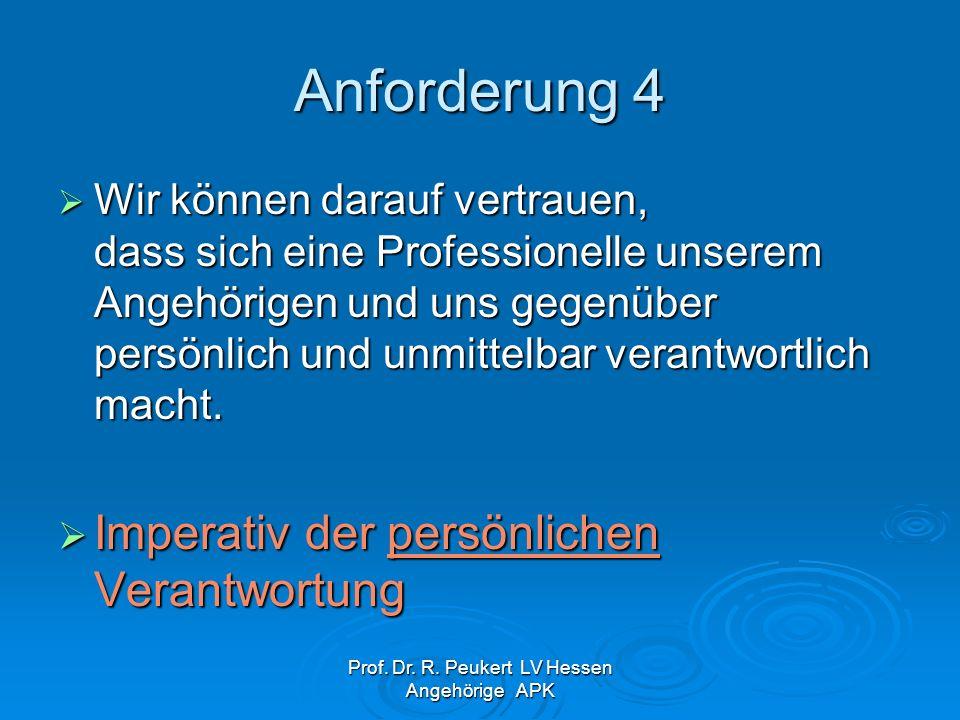Prof. Dr. R. Peukert LV Hessen Angehörige APK Anforderung 4 Wir können darauf vertrauen, dass sich eine Professionelle unserem Angehörigen und uns geg