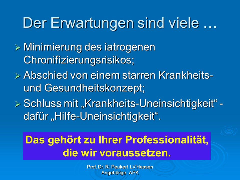 Prof. Dr. R. Peukert LV Hessen Angehörige APK Der Erwartungen sind viele … Minimierung des iatrogenen Chronifizierungsrisikos; Minimierung des iatroge