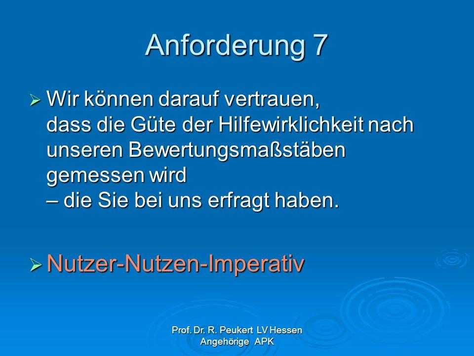 Prof. Dr. R. Peukert LV Hessen Angehörige APK Anforderung 7 Wir können darauf vertrauen, dass die Güte der Hilfewirklichkeit nach unseren Bewertungsma