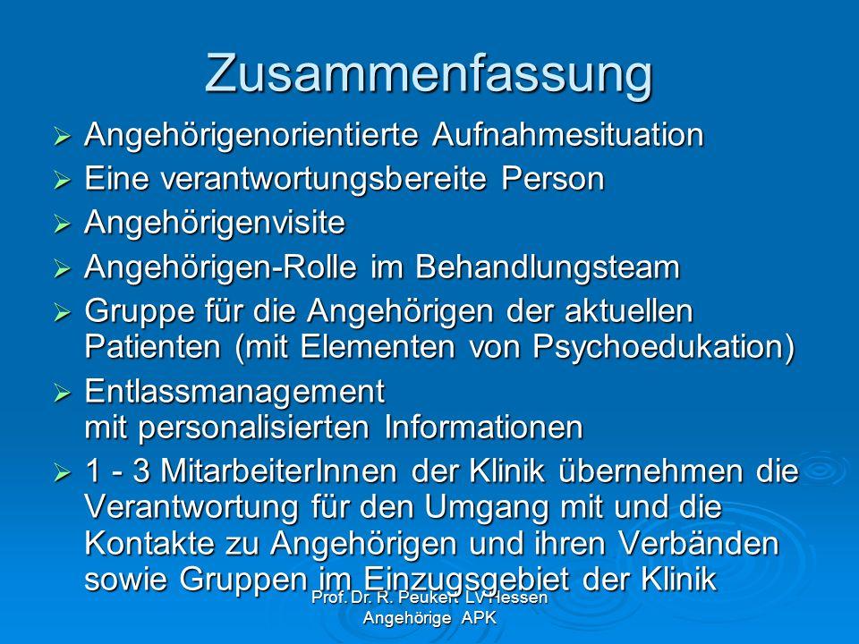 Prof. Dr. R. Peukert LV Hessen Angehörige APK Zusammenfassung Angehörigenorientierte Aufnahmesituation Angehörigenorientierte Aufnahmesituation Eine v