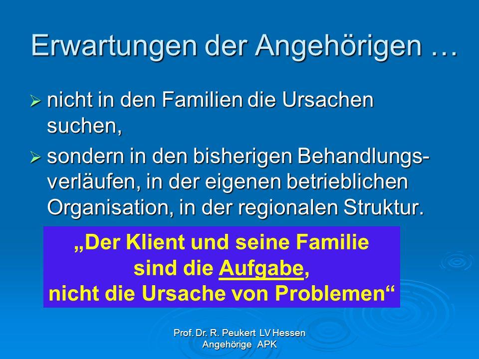 Prof. Dr. R. Peukert LV Hessen Angehörige APK Erwartungen der Angehörigen … nicht in den Familien die Ursachen suchen, nicht in den Familien die Ursac
