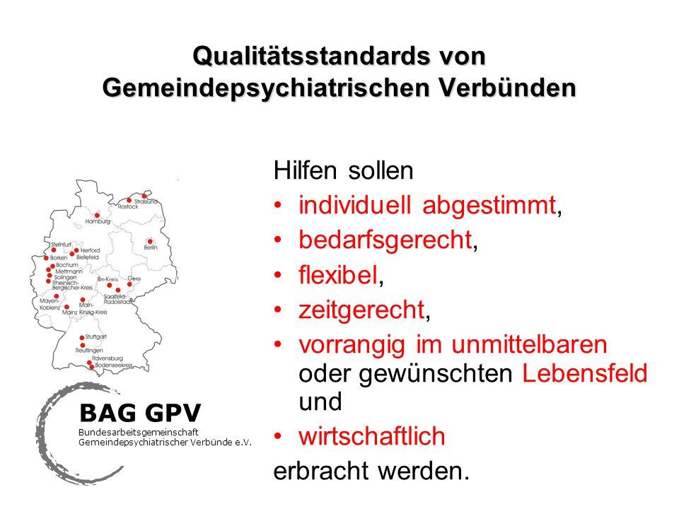 Qualitätsstandards von Gemeindepsychiatrischen Verbünden Hilfen sollen individuell abgestimmt, bedarfsgerecht, flexibel, zeitgerecht, vorrangig im unm