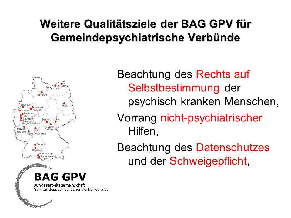 Weitere Qualitätsziele der BAG GPV für Gemeindepsychiatrische Verbünde Beachtung des Rechts auf Selbstbestimmung der psychisch kranken Menschen, Vorra