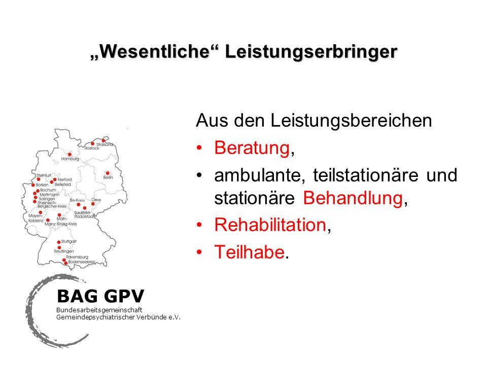 Wesentliche Leistungserbringer Aus den Leistungsbereichen Beratung, ambulante, teilstationäre und stationäre Behandlung, Rehabilitation, Teilhabe. BAG