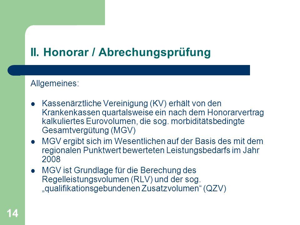 14 II. Honorar / Abrechungsprüfung Allgemeines: Kassenärztliche Vereinigung (KV) erhält von den Krankenkassen quartalsweise ein nach dem Honorarvertra