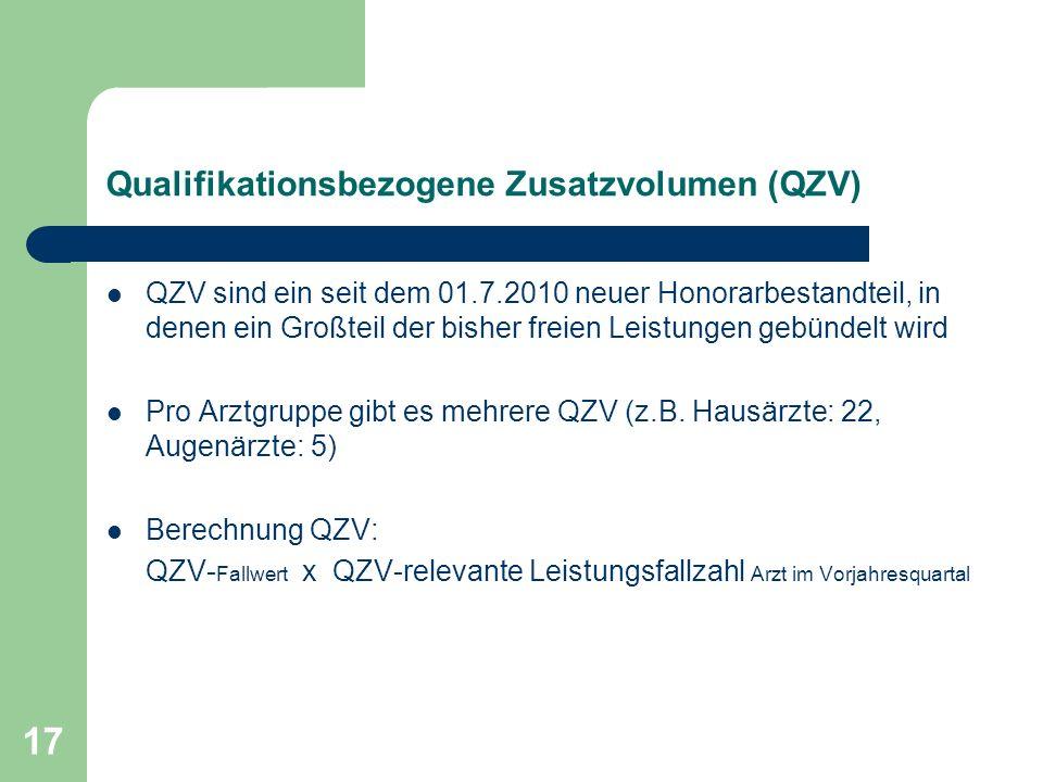17 Qualifikationsbezogene Zusatzvolumen (QZV) QZV sind ein seit dem 01.7.2010 neuer Honorarbestandteil, in denen ein Großteil der bisher freien Leistungen gebündelt wird Pro Arztgruppe gibt es mehrere QZV (z.B.