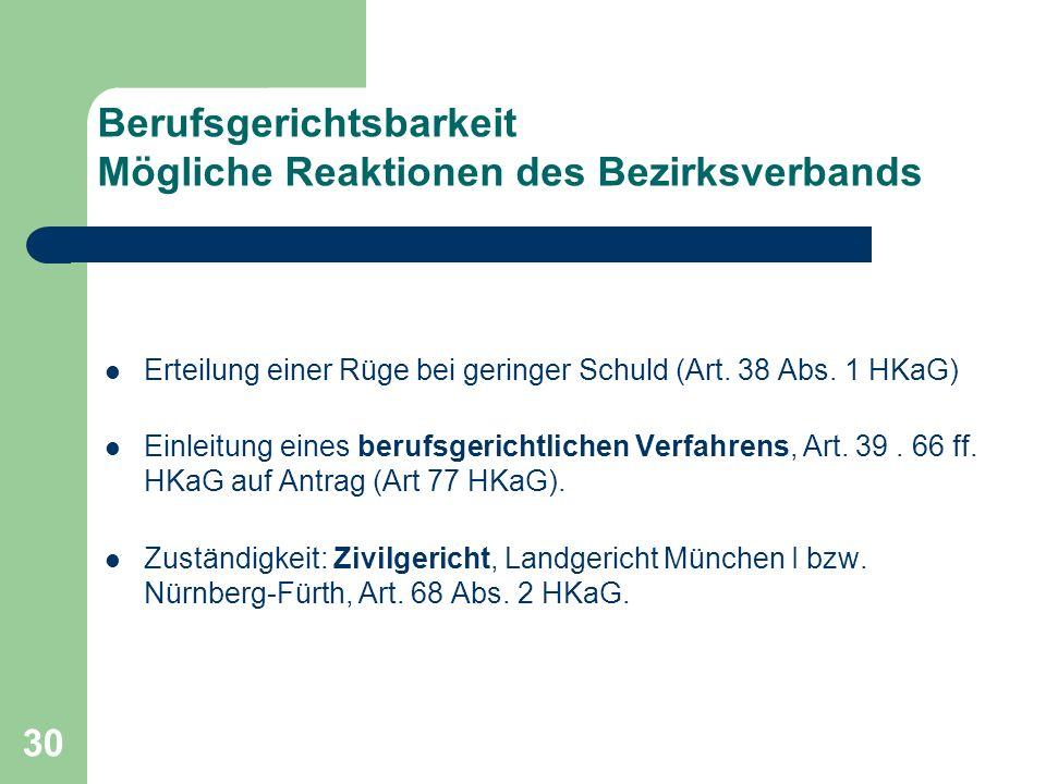 30 Berufsgerichtsbarkeit Mögliche Reaktionen des Bezirksverbands Erteilung einer Rüge bei geringer Schuld (Art. 38 Abs. 1 HKaG) Einleitung eines beruf