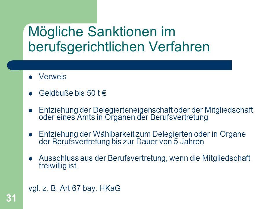 31 Mögliche Sanktionen im berufsgerichtlichen Verfahren Verweis Geldbuße bis 50 t Entziehung der Delegierteneigenschaft oder der Mitgliedschaft oder e