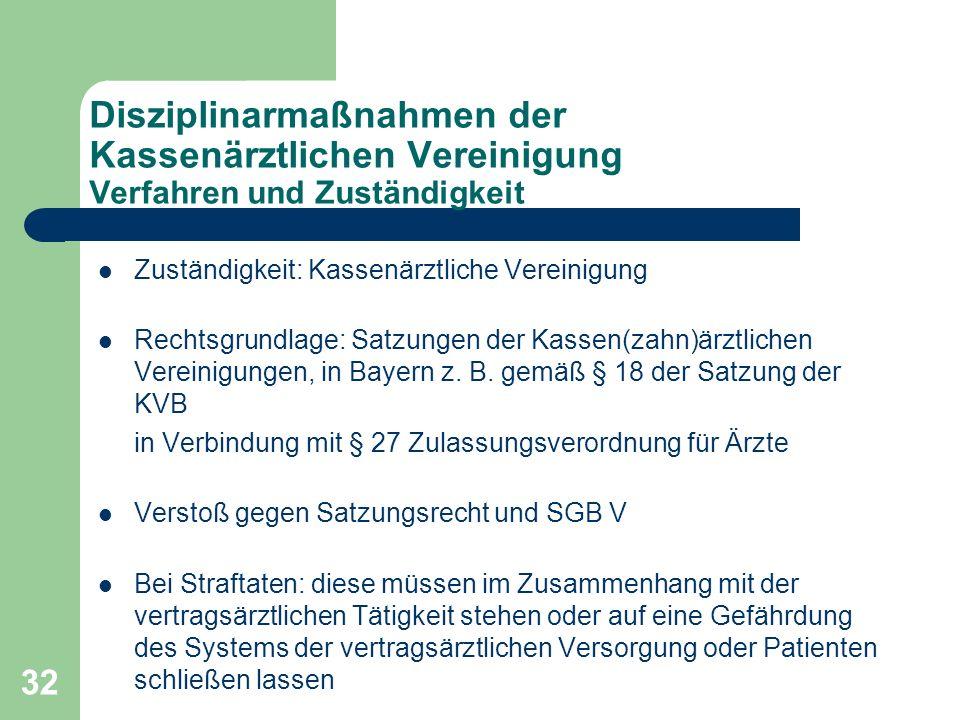 32 Disziplinarmaßnahmen der Kassenärztlichen Vereinigung Verfahren und Zuständigkeit Zuständigkeit: Kassenärztliche Vereinigung Rechtsgrundlage: Satzungen der Kassen(zahn)ärztlichen Vereinigungen, in Bayern z.
