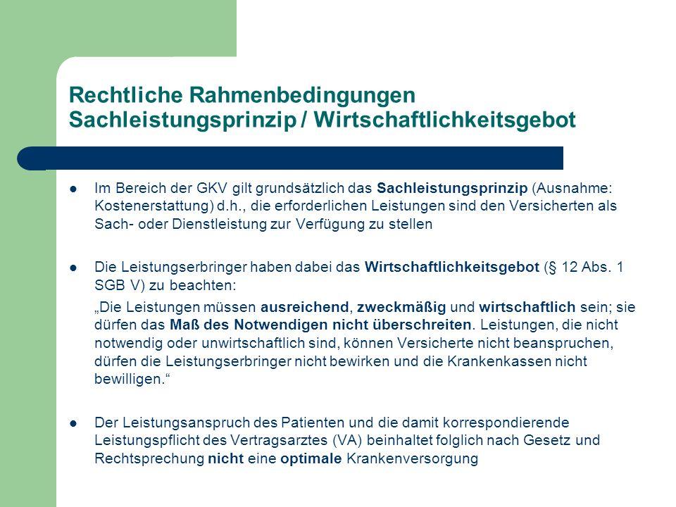 Rechtliche Rahmenbedingungen Sachleistungsprinzip / Wirtschaftlichkeitsgebot Im Bereich der GKV gilt grundsätzlich das Sachleistungsprinzip (Ausnahme: