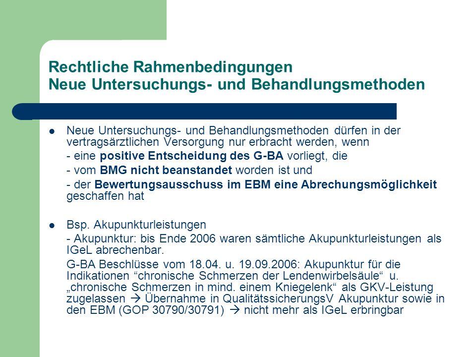 Zwischenresümee Durch die Struktur des GKV-Systems und insbesondere - die Budgetierung, - das Sachleistungsprinzip mit dem formalisierten Verfahren zur Erstellung des fest umrissenen Leistungskataloges (EBM) - sowie das Verbot der Zuzahlung zu ärztlichen Leistungen (§ 18 Abs.