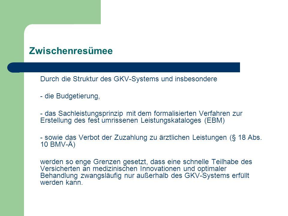 Zwischenresümee Durch die Struktur des GKV-Systems und insbesondere - die Budgetierung, - das Sachleistungsprinzip mit dem formalisierten Verfahren zu