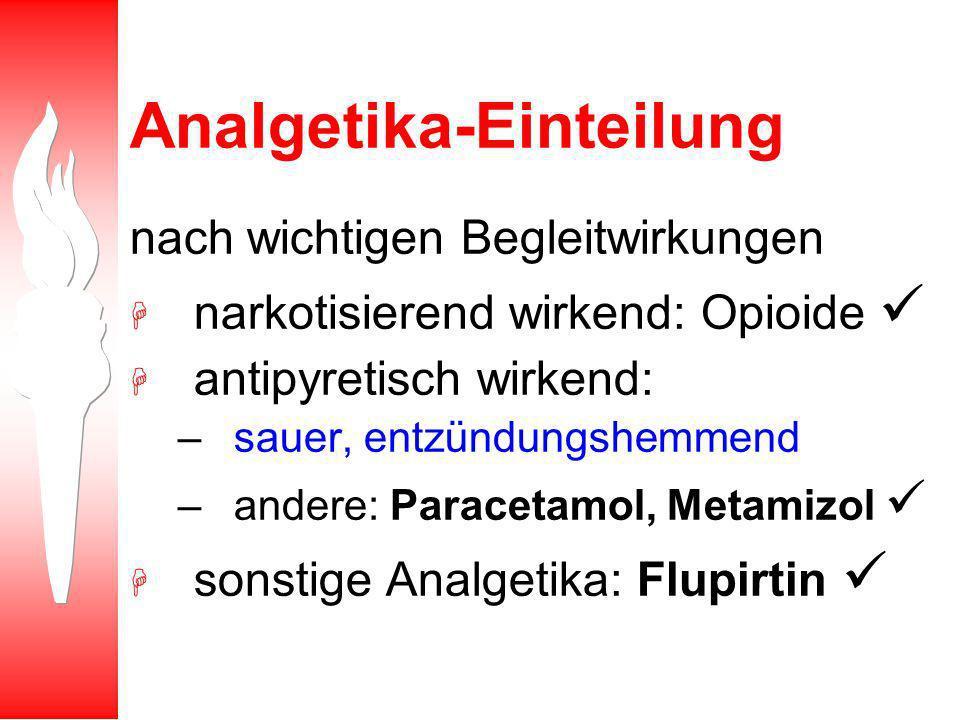 Antiphlogistika - Einteilung Analgetika nach wichtigen Begleitwirkungen H narkotisierend wirkend: Opioide H antipyretisch wirkend: –sauer, entzündungshemmend – andere: Paracetamol, Metamizol H sonstige Analgetika: Flupirtin Glukokorticoide in überphysiologische Dosierung