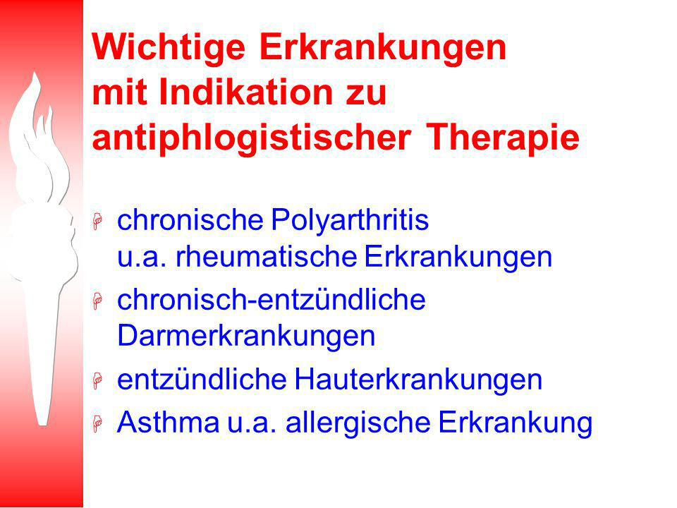 Wichtige Erkrankungen mit Indikation zu antiphlogistischer Therapie H chronische Polyarthritis u.a.