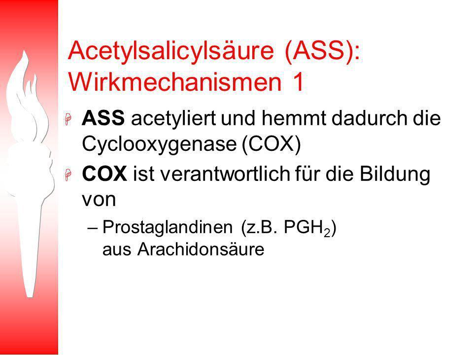 Acetylsalicylsäure (ASS): Wirkmechanismen 1 H ASS acetyliert und hemmt dadurch die Cyclooxygenase (COX) H COX ist verantwortlich für die Bildung von –