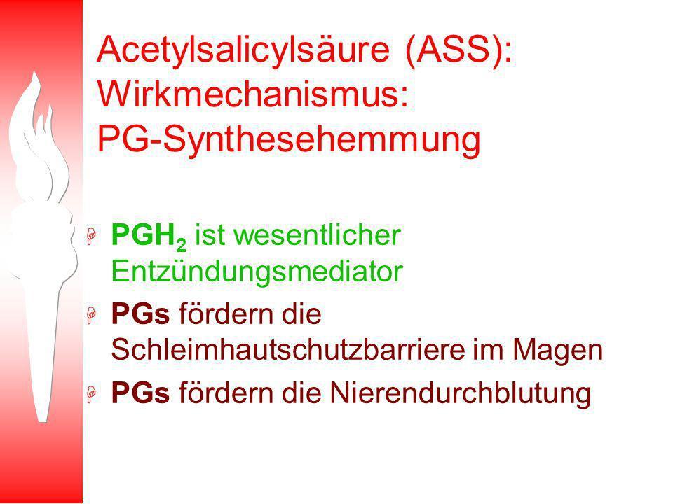 Acetylsalicylsäure (ASS): Wirkmechanismus: PG-Synthesehemmung H PGH 2 ist wesentlicher Entzündungsmediator H PGs fördern die Schleimhautschutzbarriere im Magen H PGs fördern die Nierendurchblutung