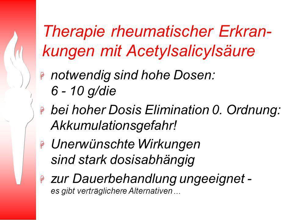 Therapie rheumatischer Erkran- kungen mit Acetylsalicylsäure H notwendig sind hohe Dosen: 6 - 10 g/die H bei hoher Dosis Elimination 0. Ordnung: Akkum