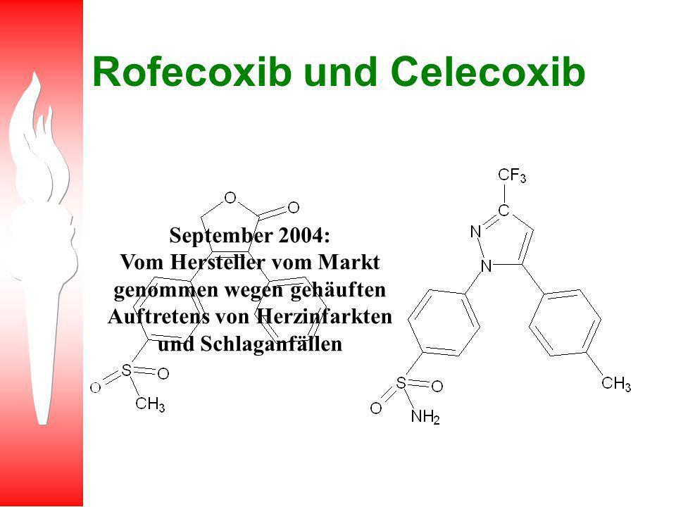 Rofecoxib und Celecoxib September 2004: Vom Hersteller vom Markt genommen wegen gehäuften Auftretens von Herzinfarkten und Schlaganfällen