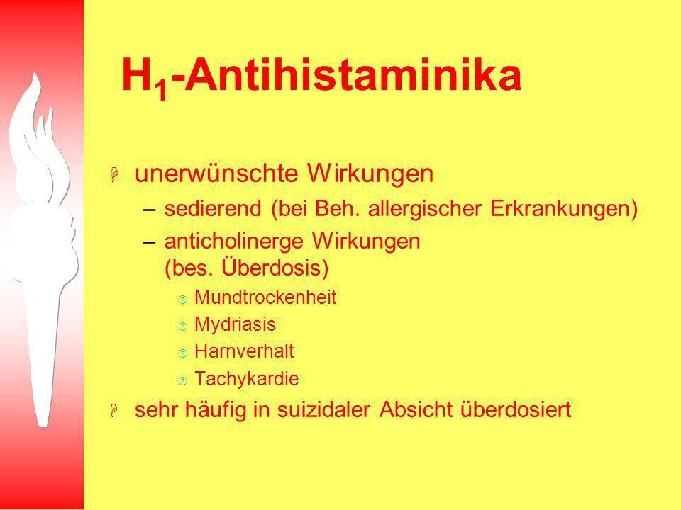 H 1 -Antihistaminika H unerwünschte Wirkungen –sedierend (bei Beh. allergischer Erkrankungen) –anticholinerge Wirkungen (bes. Überdosis) Mundtrockenhe
