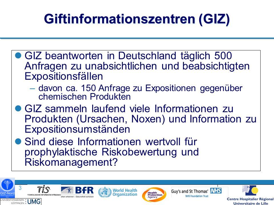 3 |3 | Giftinformationszentren (GIZ) GIZ beantworten in Deutschland täglich 500 Anfragen zu unabsichtlichen und beabsichtigten Expositionsfällen –davon ca.