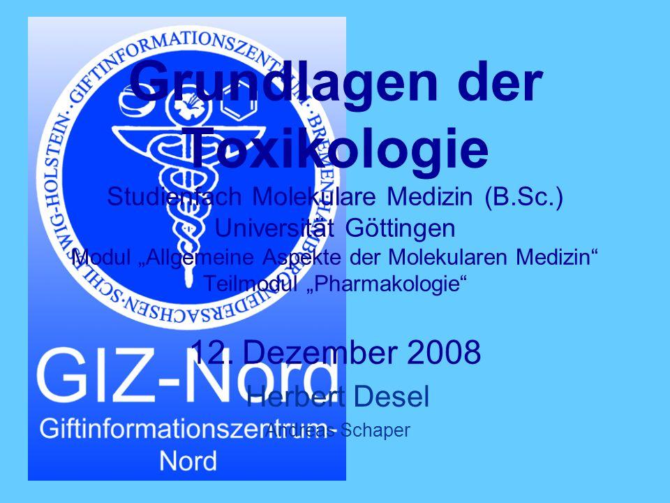 H.Desel Toxikologie - Einführung Inhalte Grundlagen der Toxikologie Definitionen.