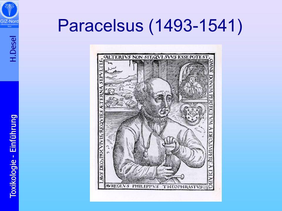 H.Desel Toxikologie - Einführung Paracelsus 1493 - 1541 Wenn Ihr jedes Gift richtig erklären wollet, was ist dann kein Gift.