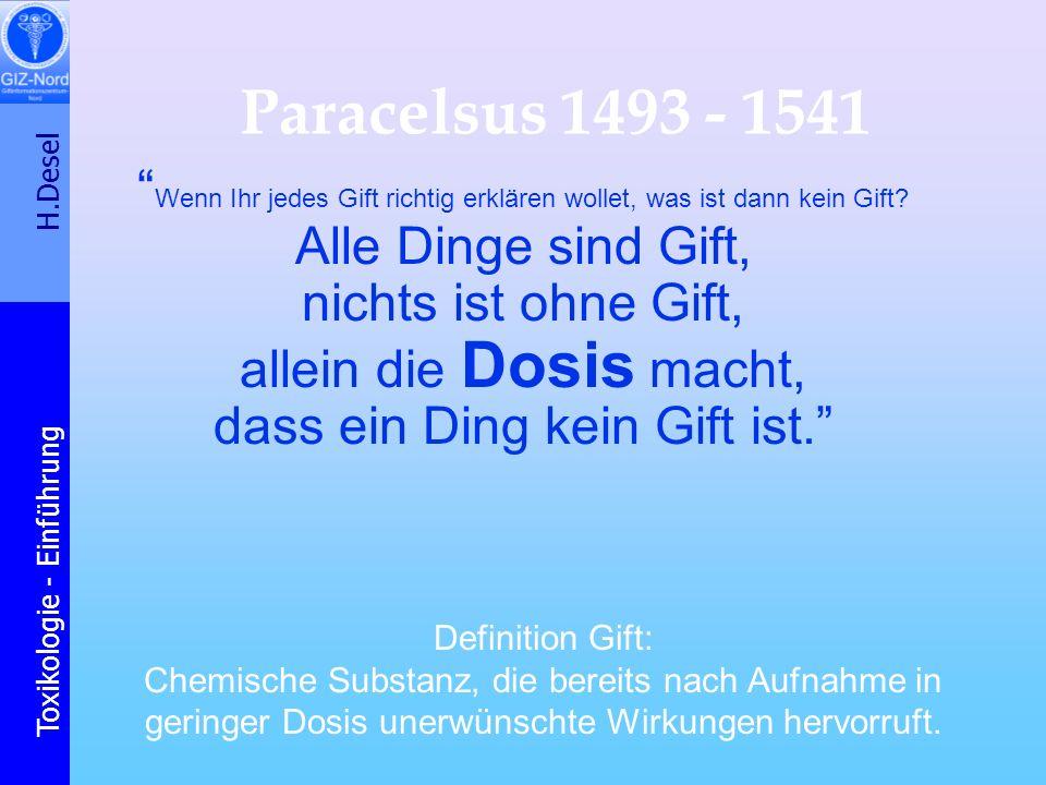 H.Desel Toxikologie - Einführung Wichtige Begriffe Exposition Risiko / Risiken Dosis gentoxische W.