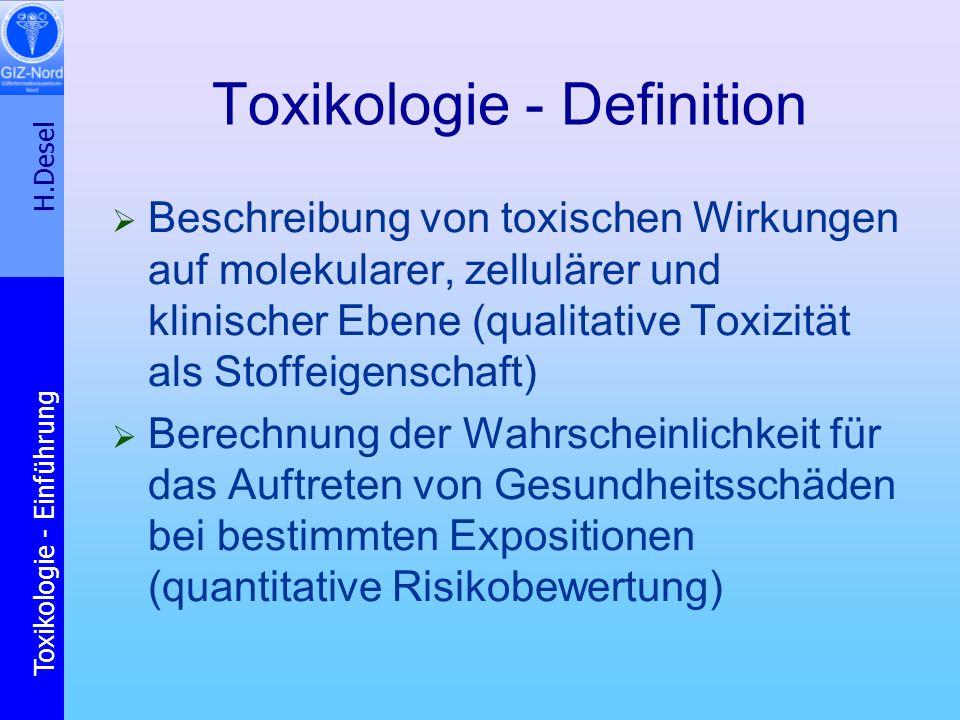 H.Desel Toxikologie - Einführung Ursachen für unterschiedliche Empfindlichkeiten Toxikokinetik: Genpolymorphismus an Enzymen des Fremdstoff-Metabolismus Induktion von Enzymen des Fremdstoff- Metabolismus (EtOH, Rauchen) Toxikodynamik: Expression von Rezeptoren Vorerkrankungen