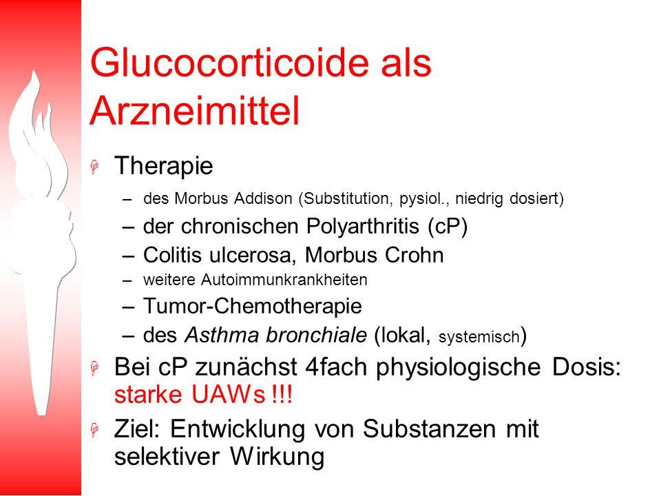 Glucocorticoide als Arzneimittel H Therapie –des Morbus Addison (Substitution, pysiol., niedrig dosiert) –der chronischen Polyarthritis (cP) –Colitis