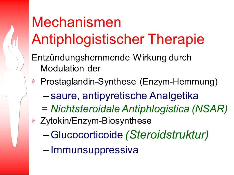 Mechanismen Antiphlogistischer Therapie Entzündungshemmende Wirkung durch Modulation der H Prostaglandin-Synthese (Enzym-Hemmung) –saure, antipyretisc