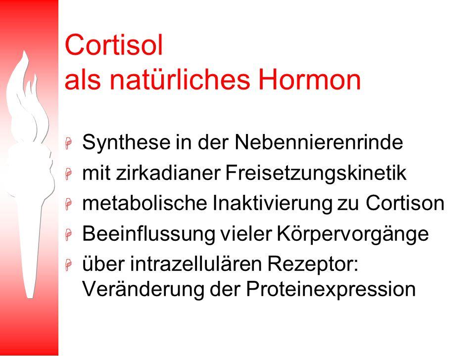Cortisol als natürliches Hormon H Synthese in der Nebennierenrinde H mit zirkadianer Freisetzungskinetik H metabolische Inaktivierung zu Cortison H Be