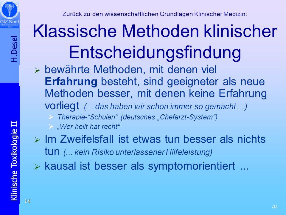 H.Desel Klinische Toxikologie II /32 14 Zurück zu den wissenschaftlichen Grundlagen Klinischer Medizin: Klassische Methoden klinischer Entscheidungsfi