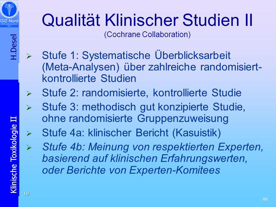 H.Desel Klinische Toxikologie II /32 19 Qualität Klinischer Studien II (Cochrane Collaboration) Stufe 1: Systematische Überblicksarbeit (Meta-Analysen