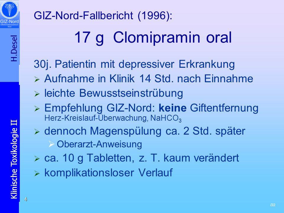 H.Desel Klinische Toxikologie II /32 5 17 g Clomipramin oral Bewertung: verzögerte Resorption durch stoffspezifische (antimuskarinerge) Wirkung Die Giftentfernungsmaßnahme war: wirksam .