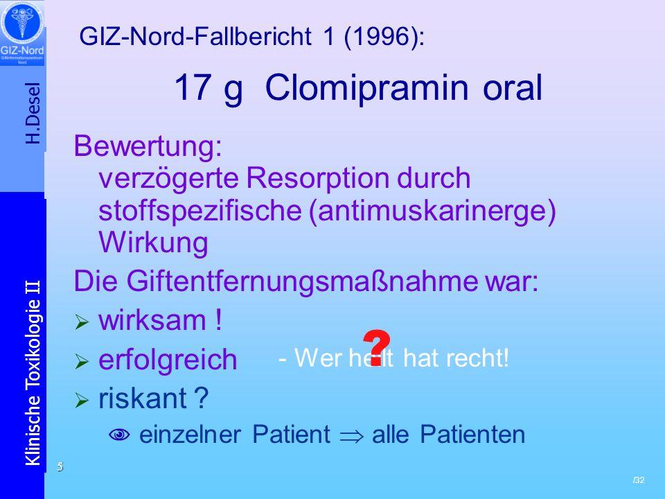 H.Desel Klinische Toxikologie II /32 5 17 g Clomipramin oral Bewertung: verzögerte Resorption durch stoffspezifische (antimuskarinerge) Wirkung Die Gi