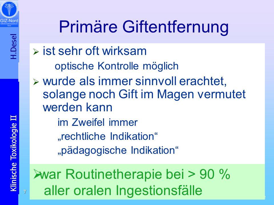H.Desel Klinische Toxikologie II /32 8 GIZ-Nord-Fallbericht 2: Acetylsalicylsäure-Vergiftung Pat.