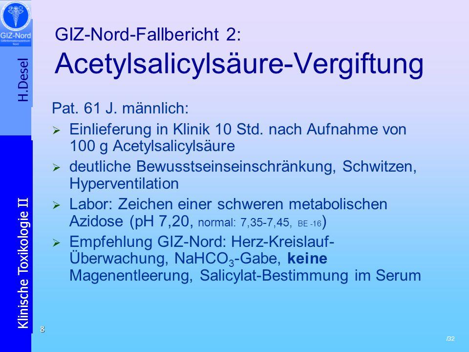 H.Desel Klinische Toxikologie II /32 8 GIZ-Nord-Fallbericht 2: Acetylsalicylsäure-Vergiftung Pat. 61 J. männlich: Einlieferung in Klinik 10 Std. nach