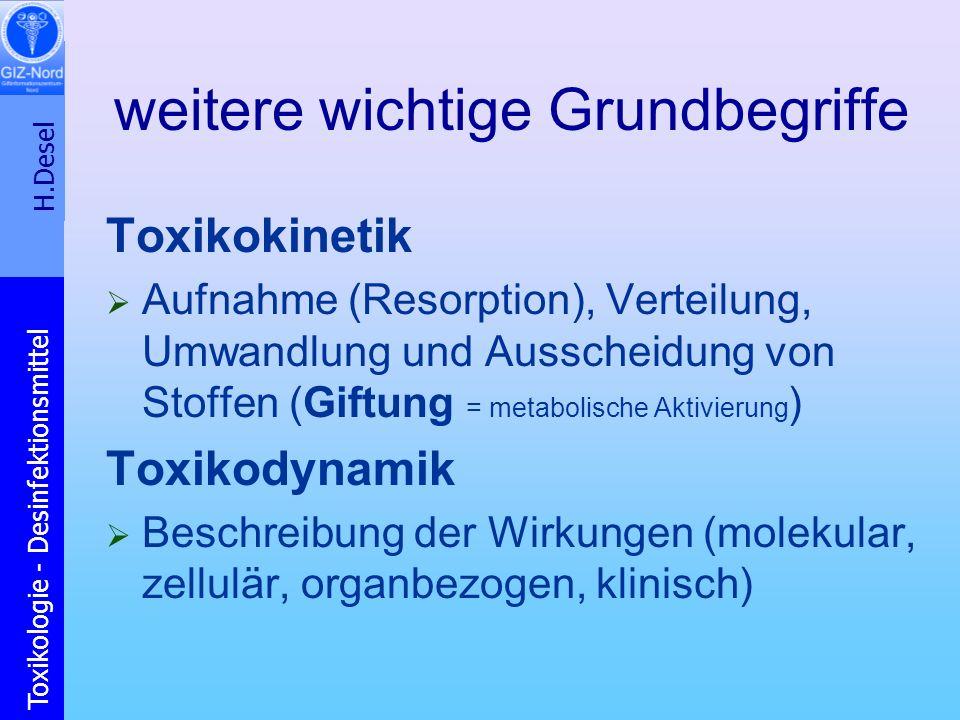 H.Desel Toxikologie - Desinfektionsmittel weitere wichtige Grundbegriffe Toxikokinetik Aufnahme (Resorption), Verteilung, Umwandlung und Ausscheidung