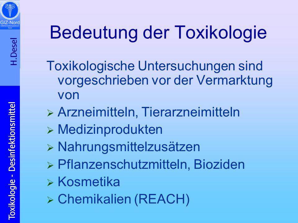 H.Desel Toxikologie - Desinfektionsmittel Bedeutung der Toxikologie Toxikologische Untersuchungen sind vorgeschrieben vor der Vermarktung von Arzneimi