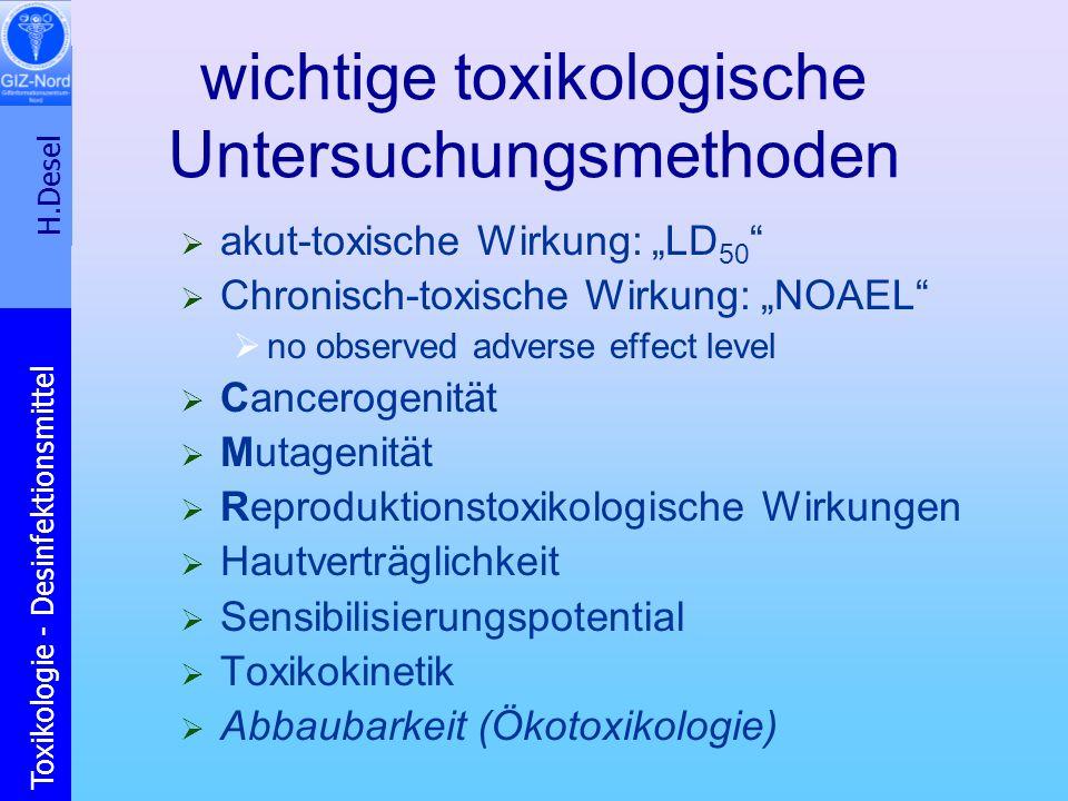 H.Desel Toxikologie - Desinfektionsmittel wichtige toxikologische Untersuchungsmethoden akut-toxische Wirkung: LD 50 Chronisch-toxische Wirkung: NOAEL