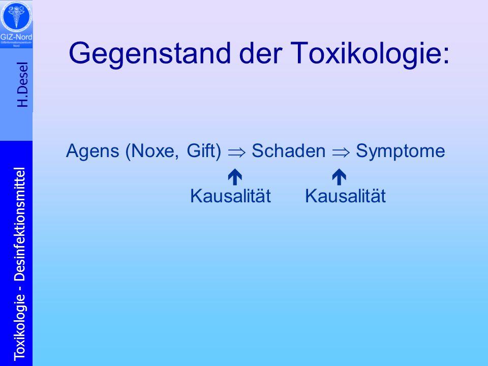 H.Desel Toxikologie - Desinfektionsmittel Gegenstand der Toxikologie: Agens (Noxe, Gift) Schaden Symptome Kausalität Kausalität