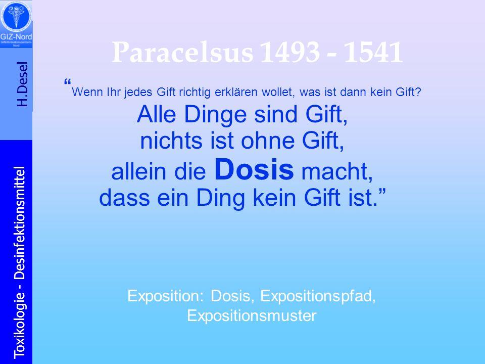 H.Desel Toxikologie - Desinfektionsmittel Paracelsus 1493 - 1541 Wenn Ihr jedes Gift richtig erklären wollet, was ist dann kein Gift? Alle Dinge sind