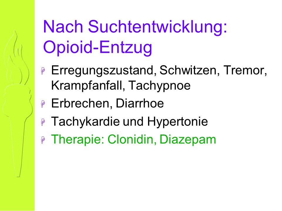 Nach Suchtentwicklung: Opioid-Entzug H Erregungszustand, Schwitzen, Tremor, Krampfanfall, Tachypnoe H Erbrechen, Diarrhoe H Tachykardie und Hypertonie H Therapie: Clonidin, Diazepam