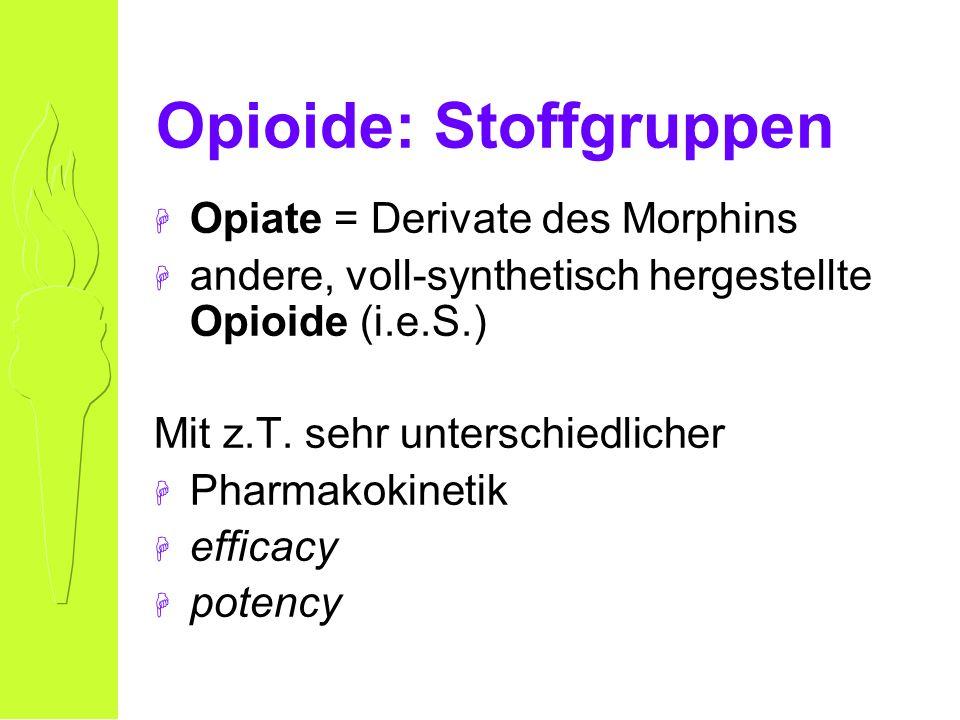 Opioide: Stoffgruppen H Opiate = Derivate des Morphins H andere, voll-synthetisch hergestellte Opioide (i.e.S.) Mit z.T.