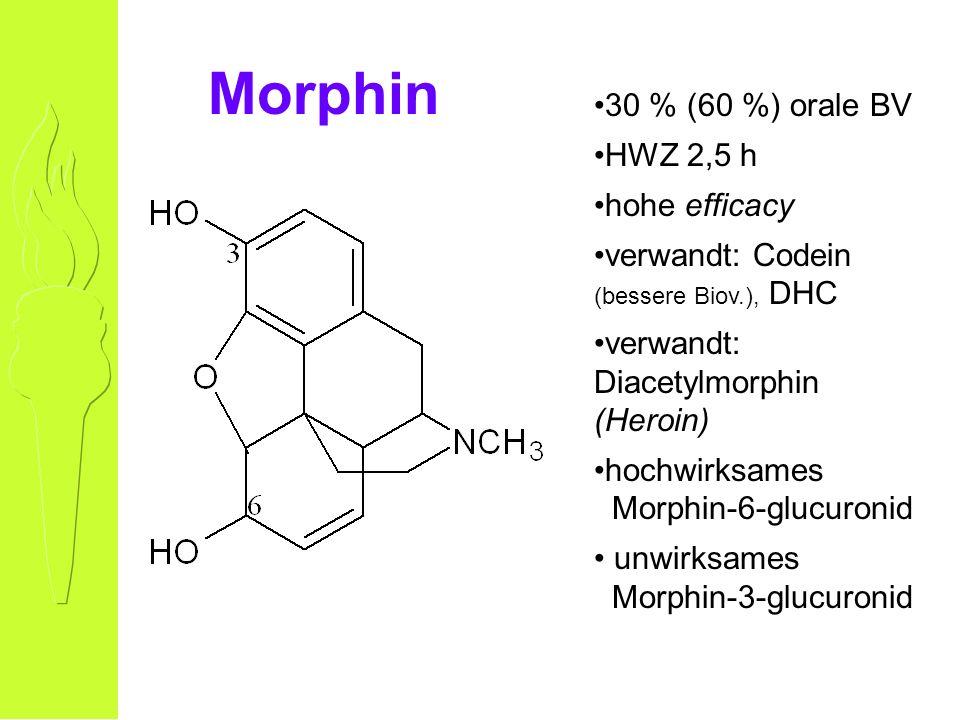 Morphin 30 % (60 %) orale BV HWZ 2,5 h hohe efficacy verwandt: Codein (bessere Biov.), DHC verwandt: Diacetylmorphin (Heroin) hochwirksames Morphin-6-glucuronid unwirksames Morphin-3-glucuronid