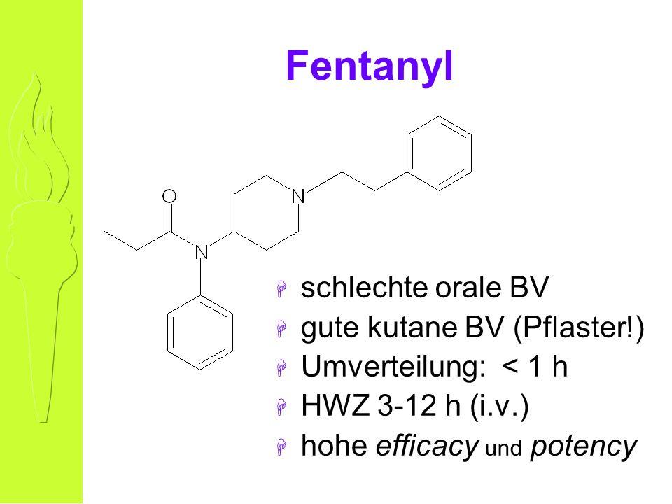 Fentanyl H schlechte orale BV H gute kutane BV (Pflaster!) H Umverteilung: < 1 h H HWZ 3-12 h (i.v.) H hohe efficacy und potency